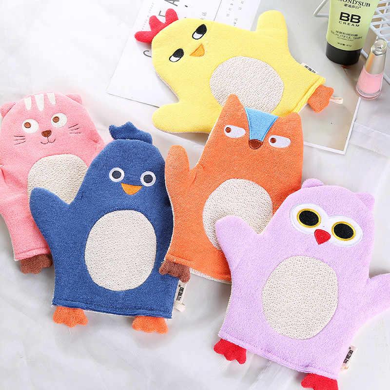 Recién llegados recién nacido Baby Shower guante Animal zorro pingüino dibujos animados suave cepillo para baño de bebé chico necesario