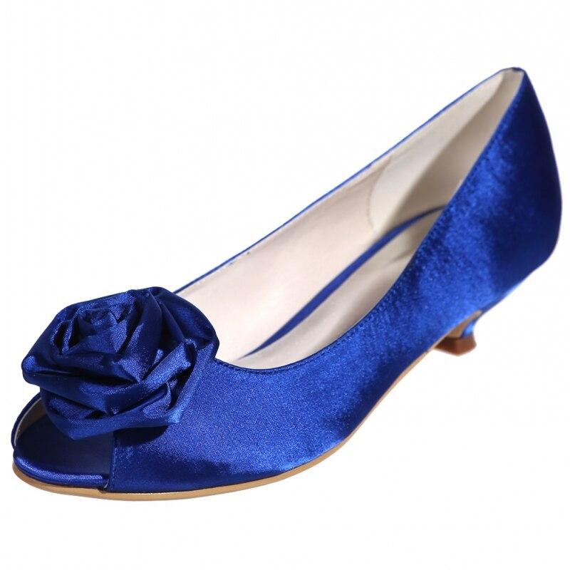 Женские туфли лодочки с объемным цветком, атласные дизайнерские туфли с открытым носком на низком каблуке, большие размеры, белые, черные, красные свадебные туфли на каблуке Zapatos - 3