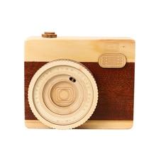 Creative home decoration wooden camera music box retro clockwork mechanical desktop decorations gift