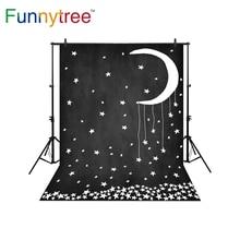 Funnytree fundo para photo studio estrelas lua negra abstrato dos desenhos animados crianças fotografia cenário photocall photobooth prop