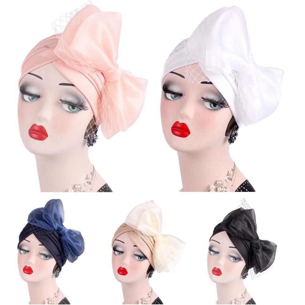 India Muslim Woman Net Yarn Bowknot Retro Cap Scarf Chemo Cap Fashion Turban Headwrap Hat Elegant Pleated Vintage Bonnet Islamic