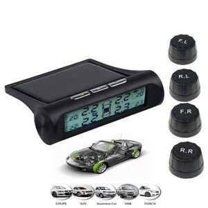 Image 4 - Датчик давления в шинах, 433,92 МГц, 4 внешних датчика, USB, система контроля давления в шинах с солнечной зарядкой, HD цифровой дисплей, инструмент автомобильной сигнализации