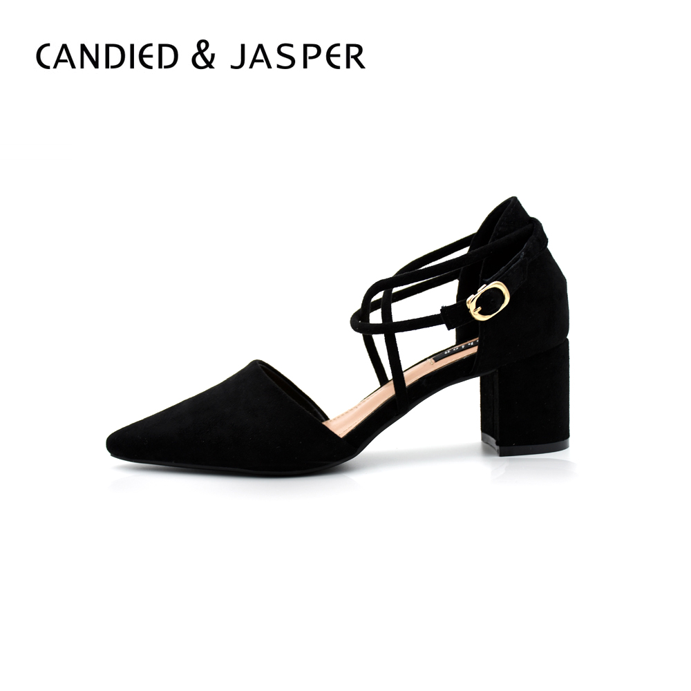 Women's High Heels Shoes Woman Casual Shoe Fashion Sexy Pointed Toe Thick Heel Buckle Strap Wedding Pumps spring autumn shoes woman pointed toe metal buckle shallow 11 plus size thick heels shoes sexy career super high heel shoes
