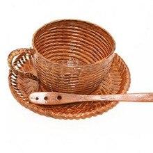 Промо-акция! Креативная новая эко винтажная бамбуковая чашка тканая непроницаемая утечка наборы кофейных чашек с ложкой для посуды молоко чай кофе