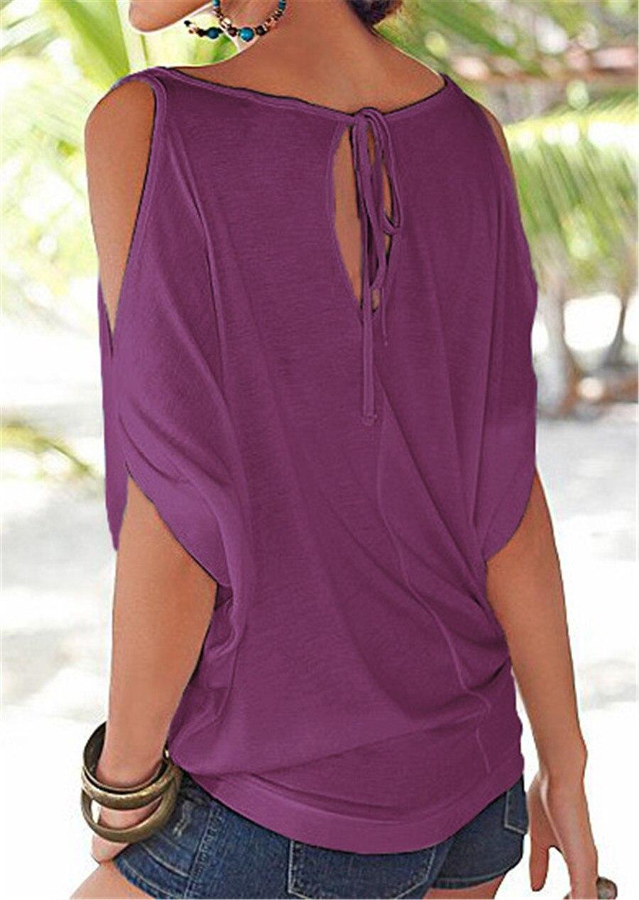HTB1n.cuKVXXXXXcXXXXq6xXFXXXs - T shirt O neck Short sleeve Off shoulder Sexy Loose Casual