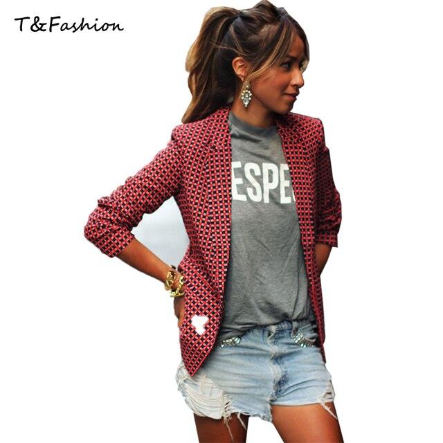 Женщин Блейзеры И Куртки Новый 2016 Мода Повседневная Весна Куртка Плюс Размер Красный Плед Маленький Костюм Пиджак Женщин