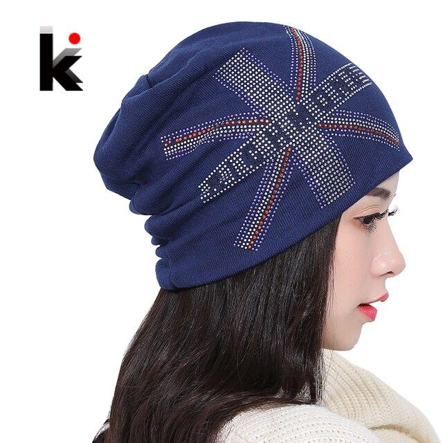 Autumn And Winter Womens Beanie Knitted Hat Turban British Flag Rhinestone  Hats Skullies Cap Ladies Lnit Caps For Women Beanies 8532ce8e915