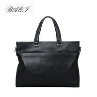 BAQI Brand Men Briefcase Bag Genuine Cow Leather Men HandBags 2019 Fashion Computer Business Bag Men Shoulder bags Messenger Bag