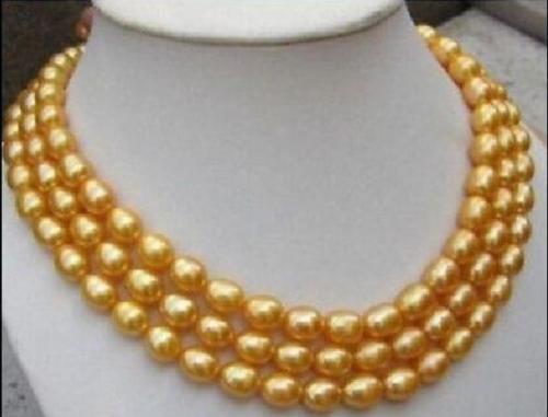 Belle 11-13mm baroque naturel or perle collier 49