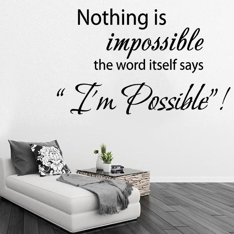 """INSPIRING /""""Nothing is impossible/"""" LIVING ROOM// BEDROOM Quote Decal//Vinyl"""
