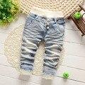 Del otoño del resorte Roupas Baby Girls Washed Vintage corazón del cordón del arco de la princesa Denim Jeans pantalones largos embroman los pantalones S2751