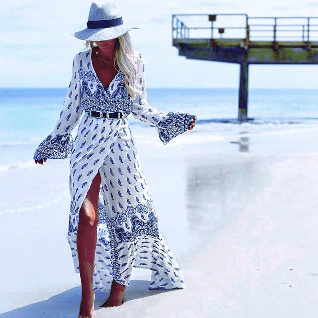 Boho dress mujeres de la impresión floral largo manga flare dress femme de vacaciones con cuello en v sexy dress bohemia loose beach maxi dress vestidos