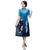 Shanghai Story 2019 Sprig Short Sleeve AoDai cheongsam Dress women's Faux Silk Vietnam ao dai Chinese traditional dress qipao