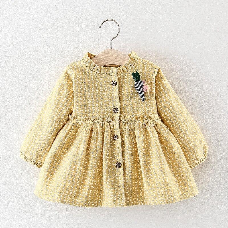 Children Autumn Warm Winter Long Sleeve Baby Infants Girls Kids Printed Velvet Princess Party Tutu Carrot Dress Vestidos S7525