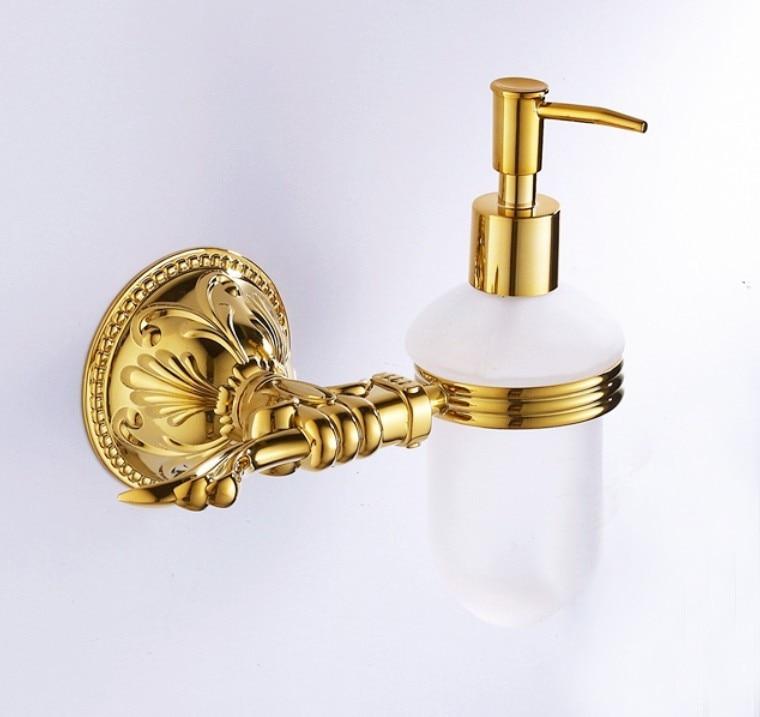 Free Shipping Brass Gold Plating Soap Dispenser Bathroom Accessories Titanium Liquid Soap