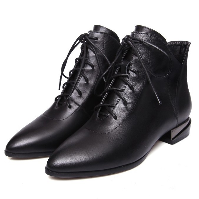 High Qulaity Women Low High Heels Ankle Boots Lace Up Genuine Leather Short Motorcycle Boots Basic Martin Shoes DR-A0038 lace up plunge neckline high low sweater