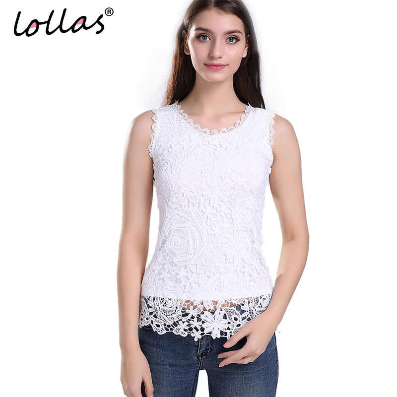 lollas Plus Size New Women Lace Vintage Sleeveless Blouse White Black Elegant Crochet Casual Shirts Tops S M L XL 2XL 3XL