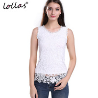 Lollas Plus Size New Women Lace Vintage Sleeveless Blouse White Black Elegant Crochet Casual Shirts Tops