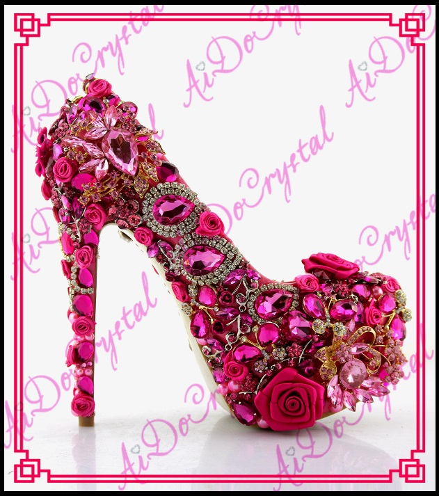 Aidocrystal 2016 New Fashion Shoes Woman Pumps Bridal Glitter Fake Crystal Rose Flower Evening Party High Heels Wedding Shoes полотенца банные spasilk полотенце 3 шт