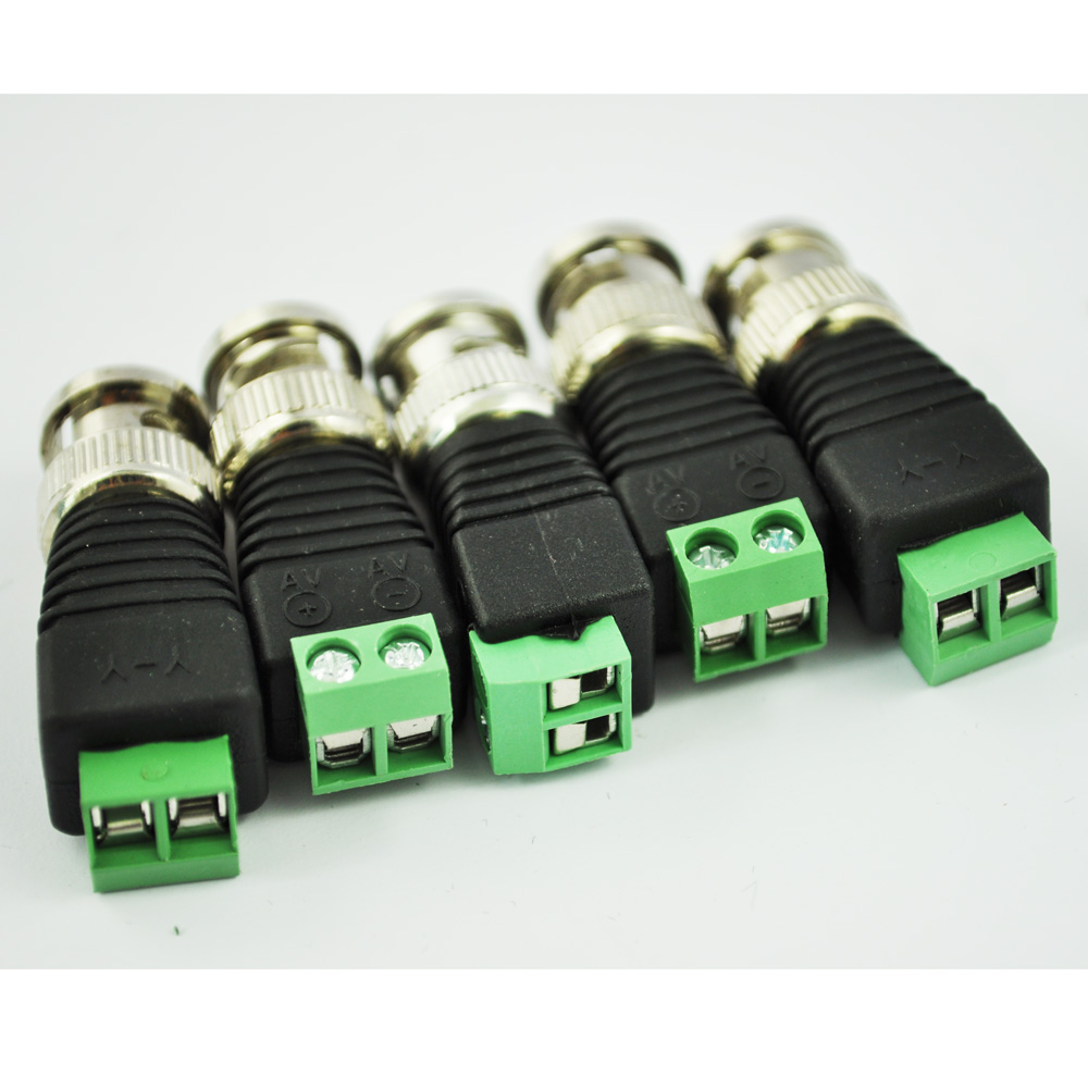 WSFS Hot 5Pcs Coax CAT5 To CCTV Coaxial Camera BNC Male Video Balun Connector