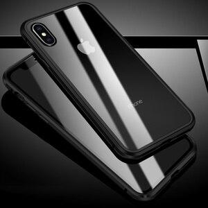 Image 5 - 360 מלא הגנה מול & אחורי מזג זכוכית מקרה עבור iPhone X XS MAX XR יוקרה מתכת מגנט פגוש מקרה עבור iPhone XS כיסוי