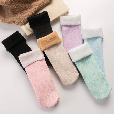 1Pairs Women Snow Boots   Socks   Casual Solid Color Thicken Thermal Cashmere Wool Floor   Socks   Soft Cotton Winter Warm   Sock