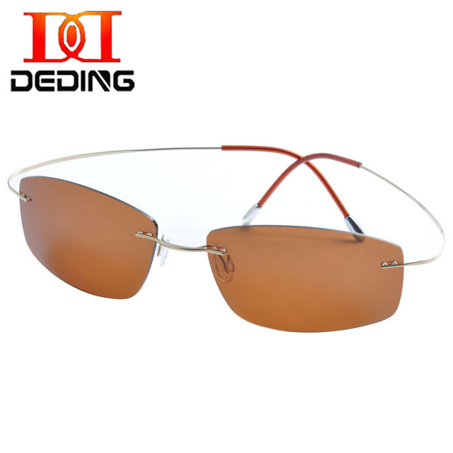 DEDING  Titanium Super Light Frame Sun Glasses Brown len Uv Protection glasses Mens rimless titanium polarized Sunglasses DD1359