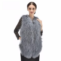 Free Shipping 2018 Factory Direct Supply New Genuine Mongolia Sheep Fur Vest Collar Gilet Winter Fur Waistcoat gilet