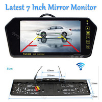 Parking Wireless HD 7 LCD car Mirror Monitor DVD/VCD/GPS/TV Screen Car Europe License Plate Frame Rearview Camera Infrared Led