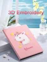 Mini2 Mini3 Unicorn Dog Whale 3D Embroidery Case Smart Cover Soft TPU Back Cover for iPad Mini 1 2 3 7.9 Tablet Auto Sleep/Wake