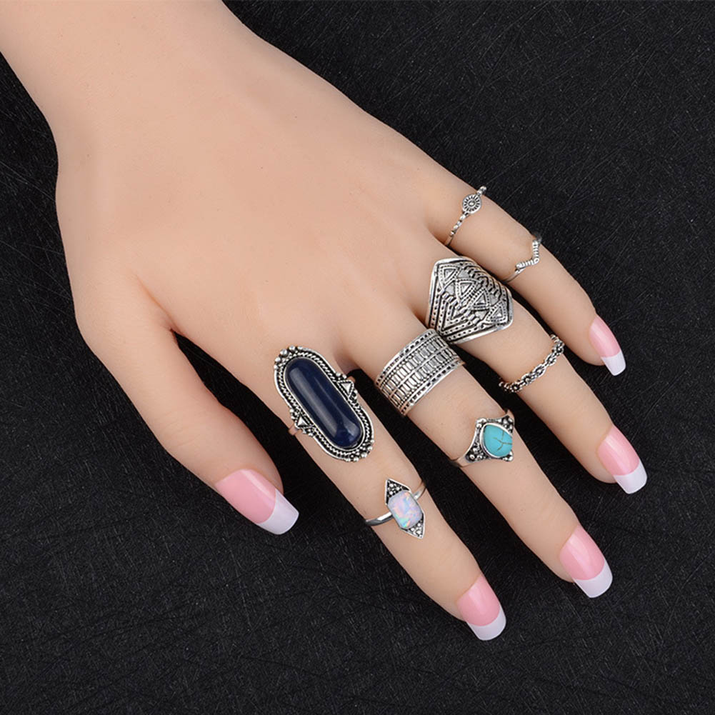 2018 Boho Jewelry Blue Brown Color Stone Ring Sets For Women Vintage Silver Gold Color R ...