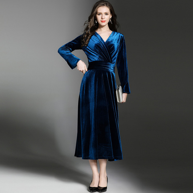 Elegant Blue V-Neck Velvet Dress Winter Dresses Women Vestido Vintage Long  Sleeve Ladies Dresses Tunique Femme Dames Jurken 4fb09d6339f0