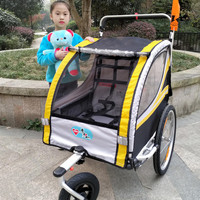 20inch Inflatable Wheel and Aluminum Alloy Frame 2 in 1 Baby Jogger Bike Trailer, Strong Shock Proof Stroller With Double Brake