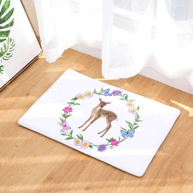 Monily Cute Rabbit Waterproof Door Mat Plant Print Floor Mat Stair Carpet Rugs Floor Cloth for Home Deocrative