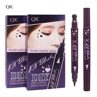 QIC 1Pcs Long Lasting Creative 2 Head Black Liquid Eye Liner Pen Color Not Fade Easy to Wear Waterproof Eyeliner Cosmetics Tools