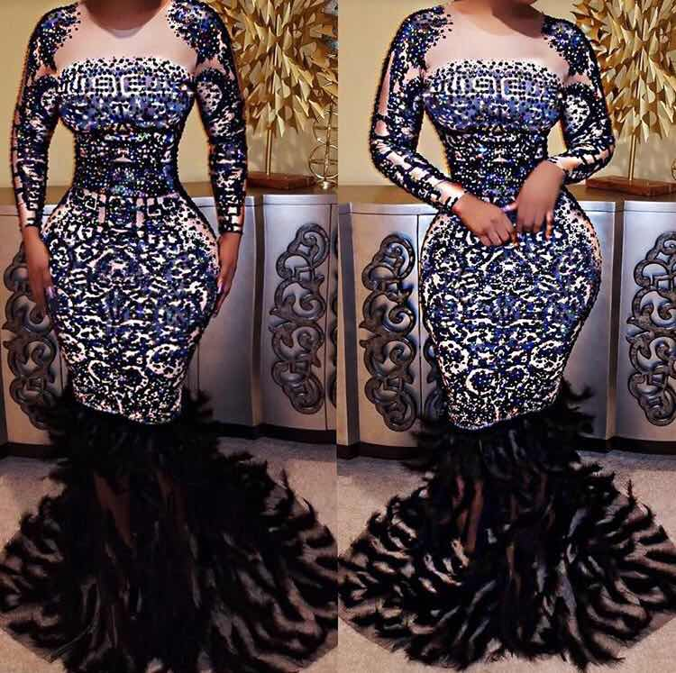 Высокое качество, высокая эластичность, длинный рукав, бисер, перо, труба, платье, вечернее платье, костюмы
