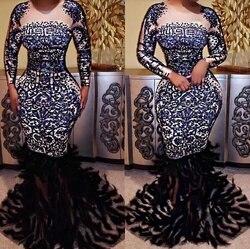 Hoge Kwaliteit Hoge Elastische Lange Mouwen Kralen Veer Trompet Avondjurk Party Dress Kostuums