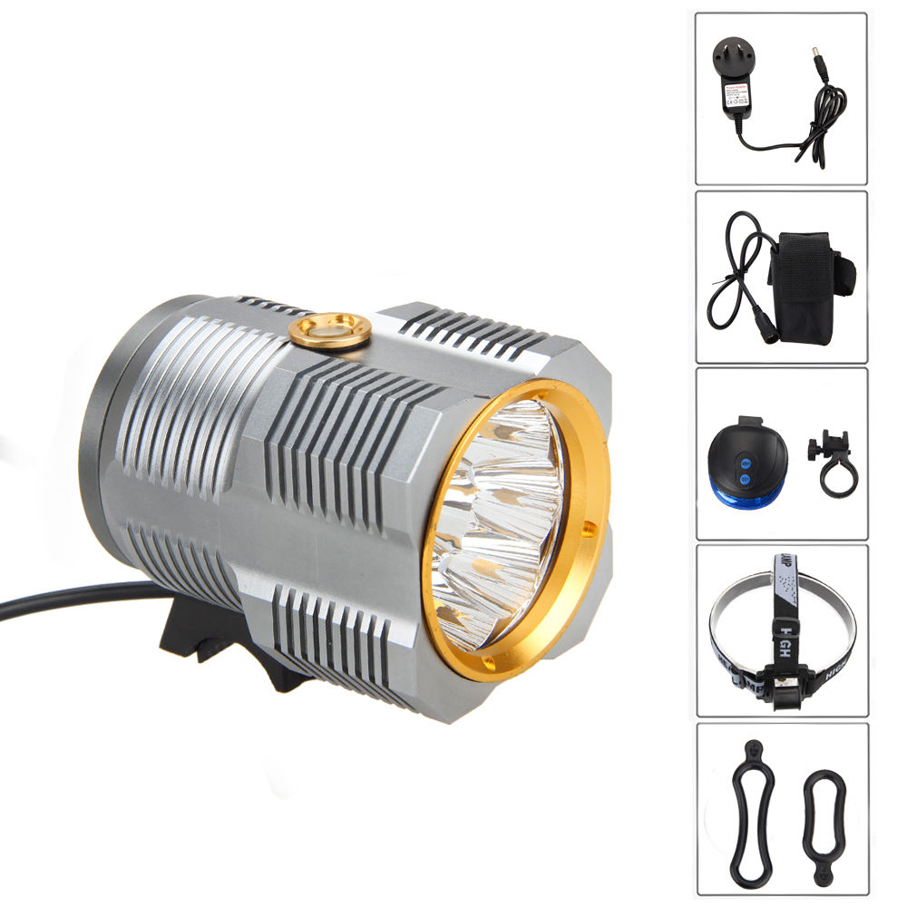 17000LM 9X XML R8 LED Front Bicycle Light Bike Lamp Torch Flashlight +AC+Battery+HB+Laser Tailight 6000lumens bike bicycle light cree xml t6 led flashlight torch mount holder warning rear flash light
