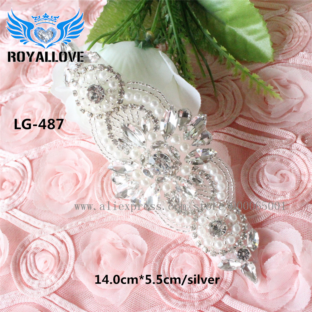 Crystal Pearl Sewing Rhinestones Wedding Appliques Trim Hot Fix Strass Patch  For Bridal dress Sash Lace Garters headband 1 piece-in Rhinestones from  Home ... 927c71dfa325