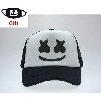 f145ee0ef496 Máscara como regalo Marshmello gorra de béisbol de las mujeres de los  hombres hip hop rapero Bboy DJ bailarina ajustable de malla de verano tapa