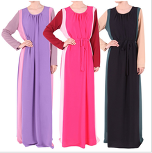 Muslim Womens Abaya dress Islamic Fashionable chiffon O-Neck Long Sleeve Floor-Length Middle East Arabic Female Kaftan Clothing