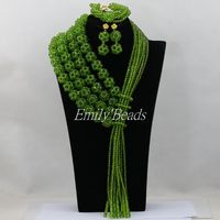 Offre spéciale New Olive Chaux Vert Cristal Perles Colliers Bijoux Costume Mariage Nigerian Perles Africaines Ensemble de Bijoux AIJ569