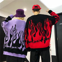 Knit Sweater Women Winter 2019 Autumn Red Flame Female Sweaters And Pullovers Purple Ladies Jumpers