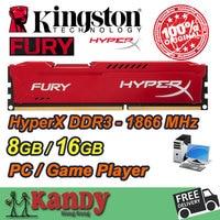Kingston Hyperx Desktop Memory RAM DDR3 8GB 16GB 1866MHz 240 Pin DIMM 1866 Non ECC Lot