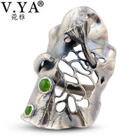 V.YA Big Lotus Leaf 990 Sterling Silver Ring for Women Men Vintage Green Stone Party Rings Jewelry Accessories