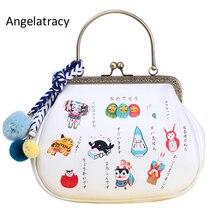 Angelatracy 2018 New Arrival Japan Style Metal Frame Purse White PU Women Handbag with Cute Pompom Colorful Ball Kawaii Girl Bag