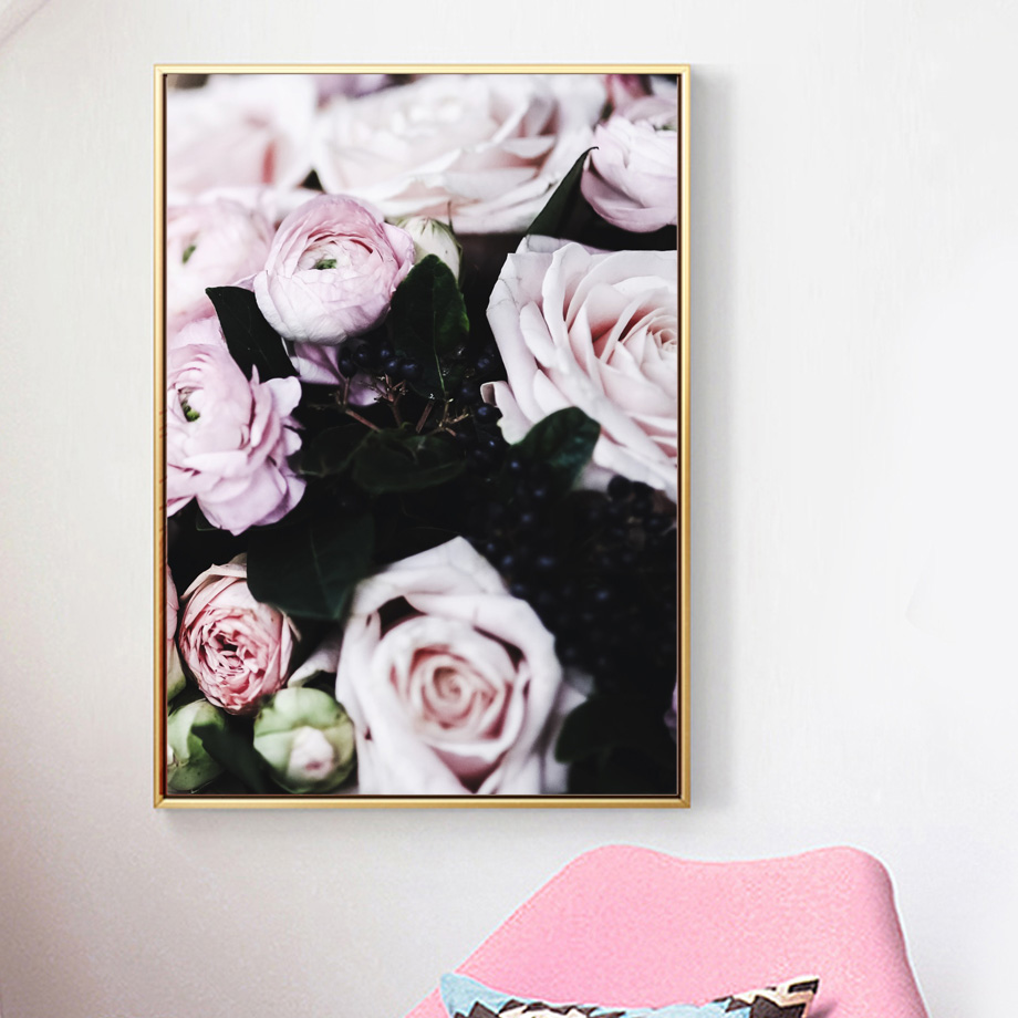 Black Flowers Rose Nordic Poster Peony Wall Pictures For Living Room Modern Wall Art Canvas Painting Posters Prints Unframed in Painting Calligraphy from Home Garden