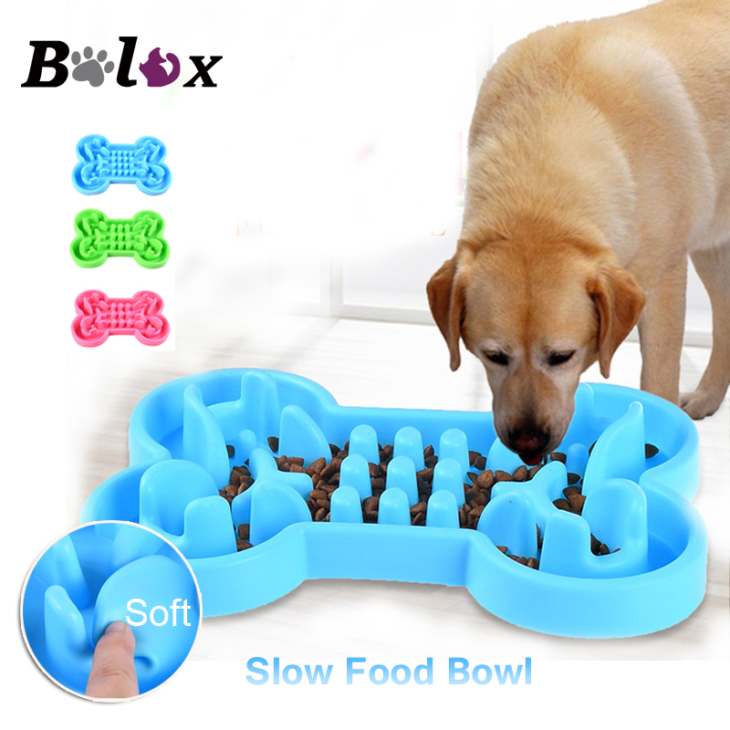Pet Dog Bowl Healthy Soft rubber Slow Food Feeder Anti Choke travel bowl for Cat dog Food feeding Alimentador Lento image