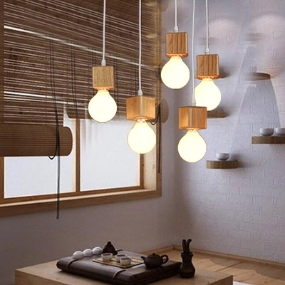Loft Style Wooden Droplight Simple Modern LED Pendant Light Fixtures For Dining Room Bar Hanging Lamp Home Lighting Lamparas