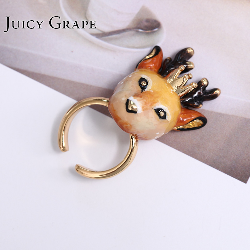 2017 Fashion Original Vivid Deep Big Enamel Ring Noble Animal Jewellery Can Adjust Size From 6 to 8 Women Anillos Bague Aneis